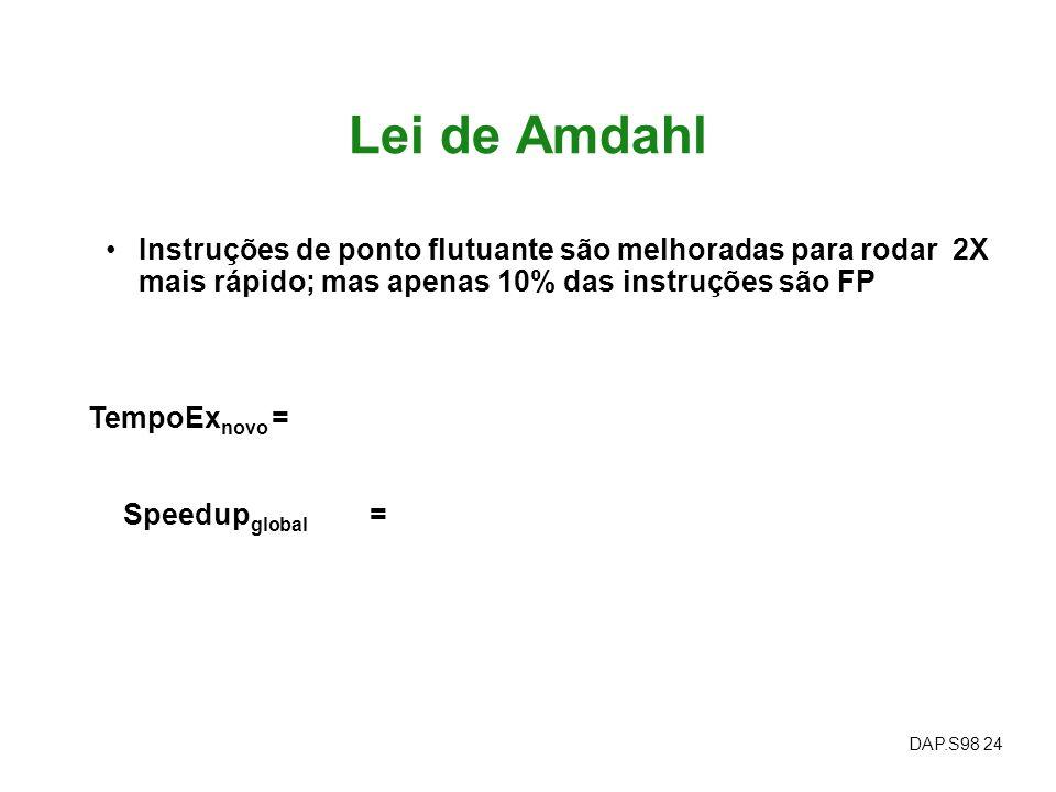 Lei de Amdahl Instruções de ponto flutuante são melhoradas para rodar 2X mais rápido; mas apenas 10% das instruções são FP.