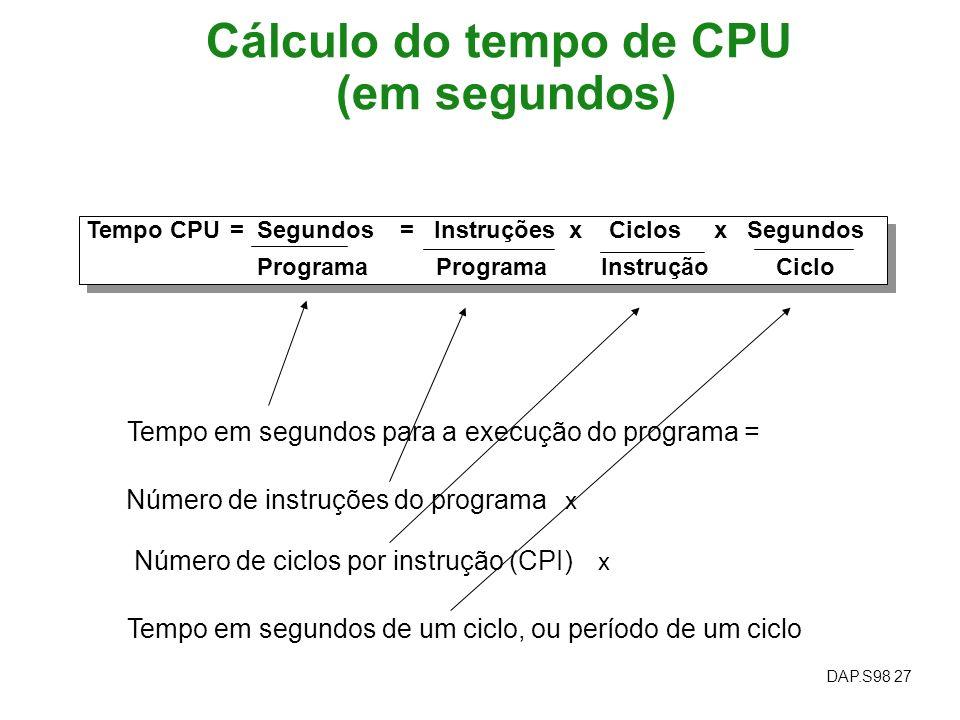 Cálculo do tempo de CPU (em segundos)