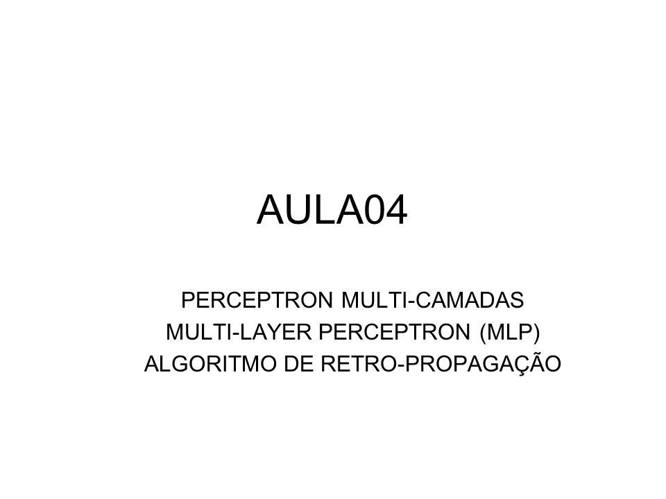 AULA04 PERCEPTRON MULTI-CAMADAS MULTI-LAYER PERCEPTRON (MLP)