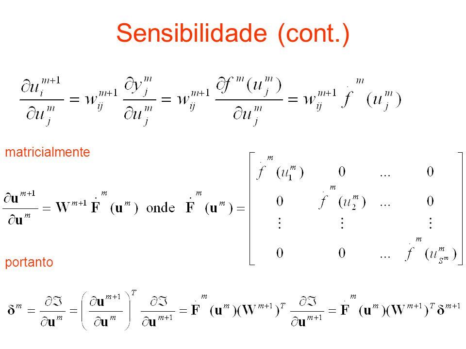 Sensibilidade (cont.) matricialmente portanto