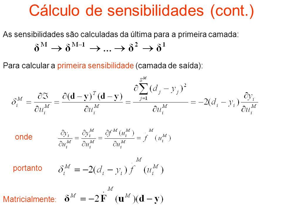 Cálculo de sensibilidades (cont.)