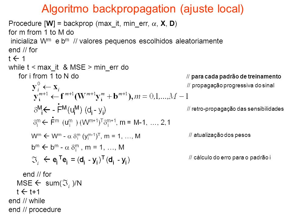 Algoritmo backpropagation (ajuste local)