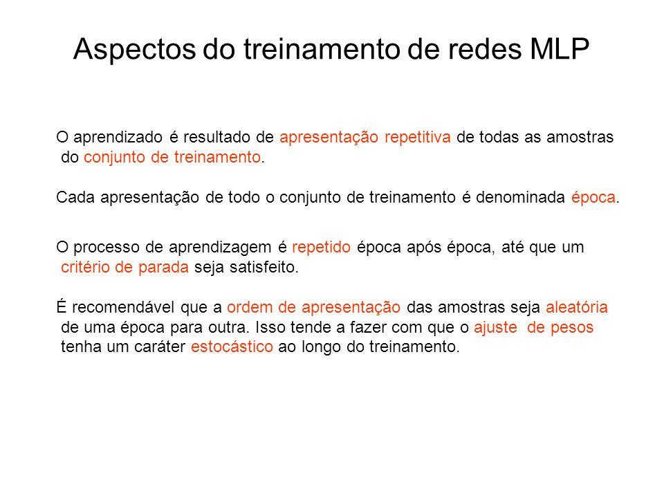 Aspectos do treinamento de redes MLP