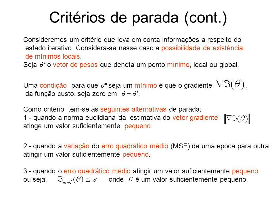 Critérios de parada (cont.)