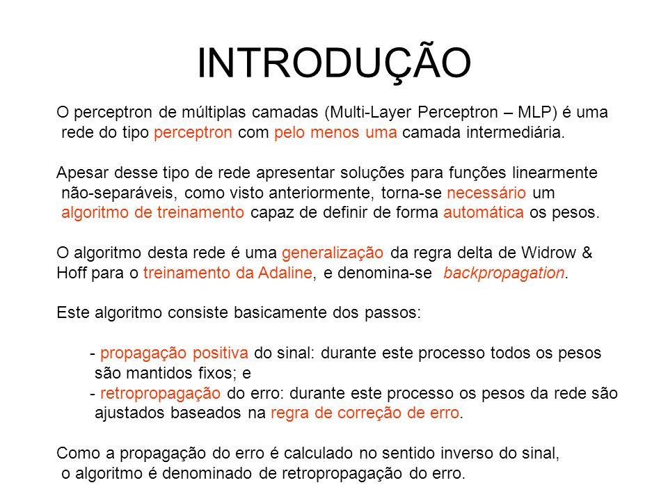 INTRODUÇÃO O perceptron de múltiplas camadas (Multi-Layer Perceptron – MLP) é uma. rede do tipo perceptron com pelo menos uma camada intermediária.
