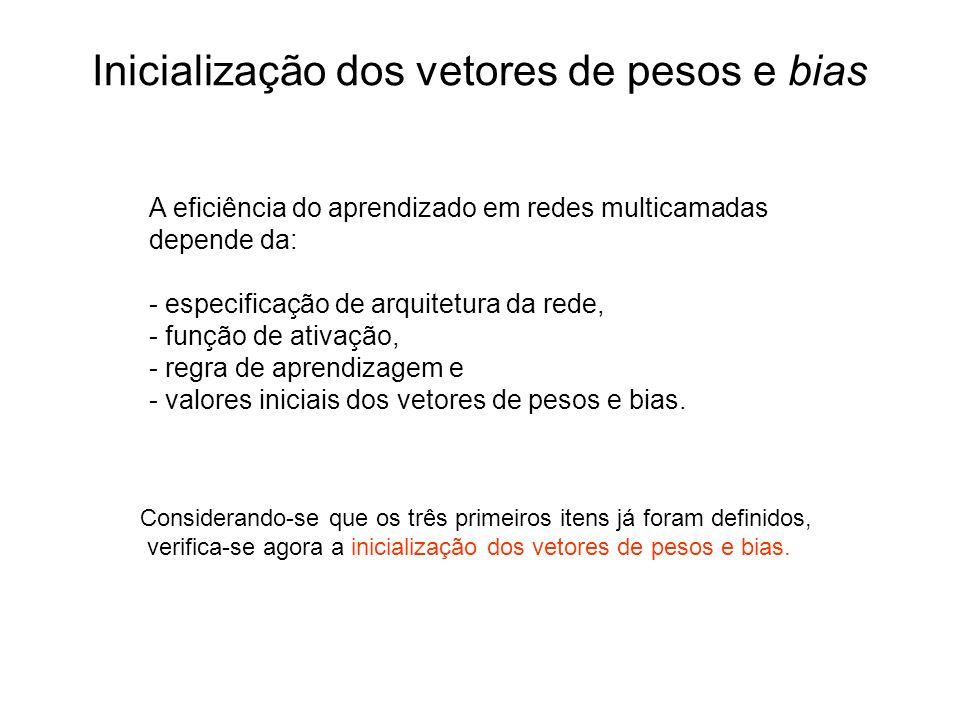 Inicialização dos vetores de pesos e bias