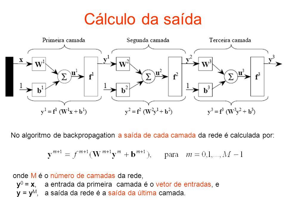 Cálculo da saída No algoritmo de backpropagation a saída de cada camada da rede é calculada por: onde M é o número de camadas da rede,
