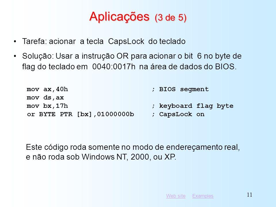 Aplicações (3 de 5) Tarefa: acionar a tecla CapsLock do teclado
