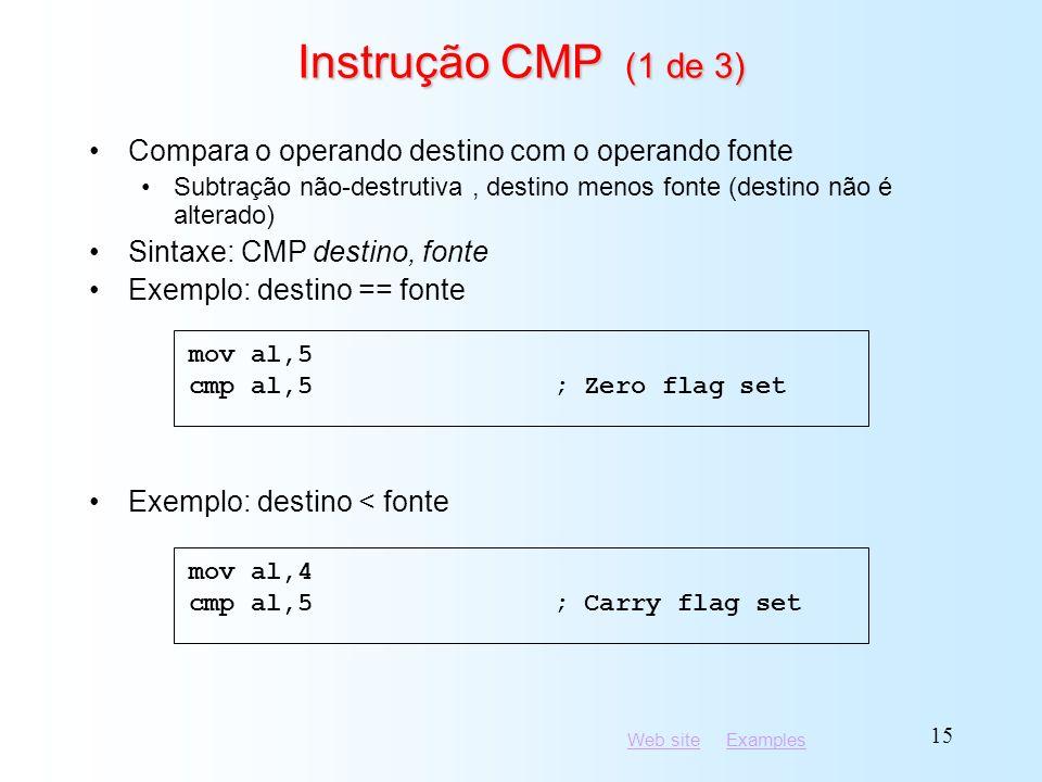 Instrução CMP (1 de 3) Compara o operando destino com o operando fonte