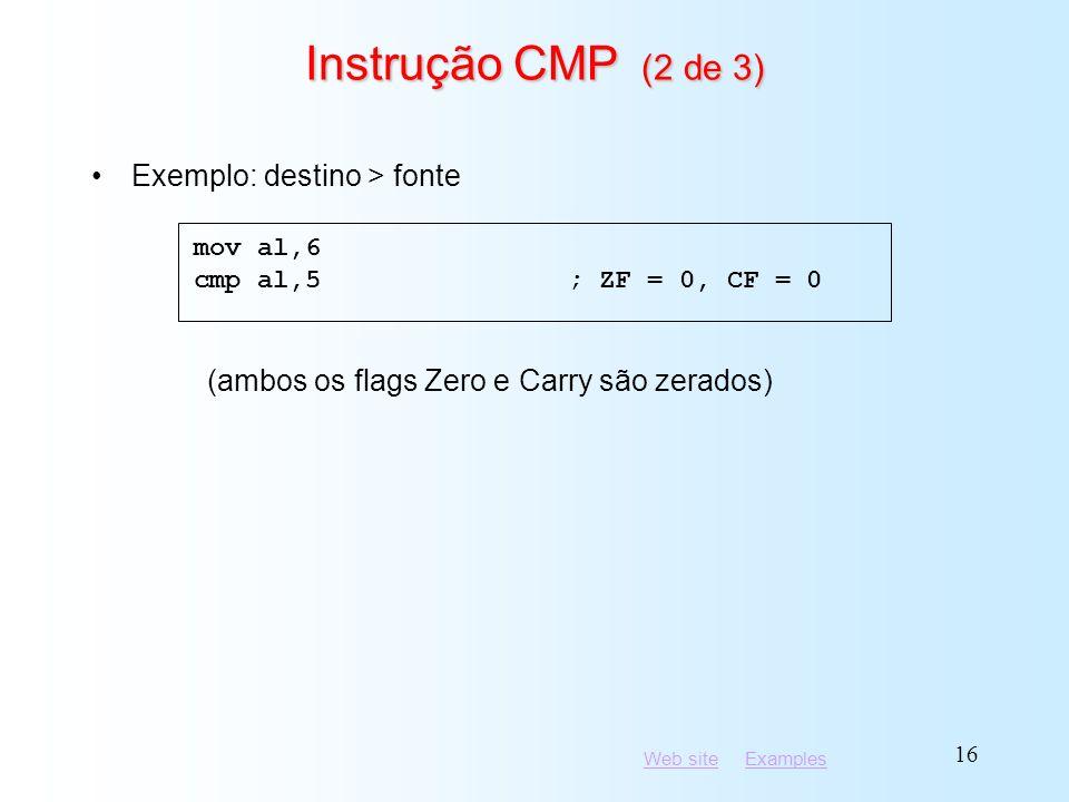 Instrução CMP (2 de 3) Exemplo: destino > fonte