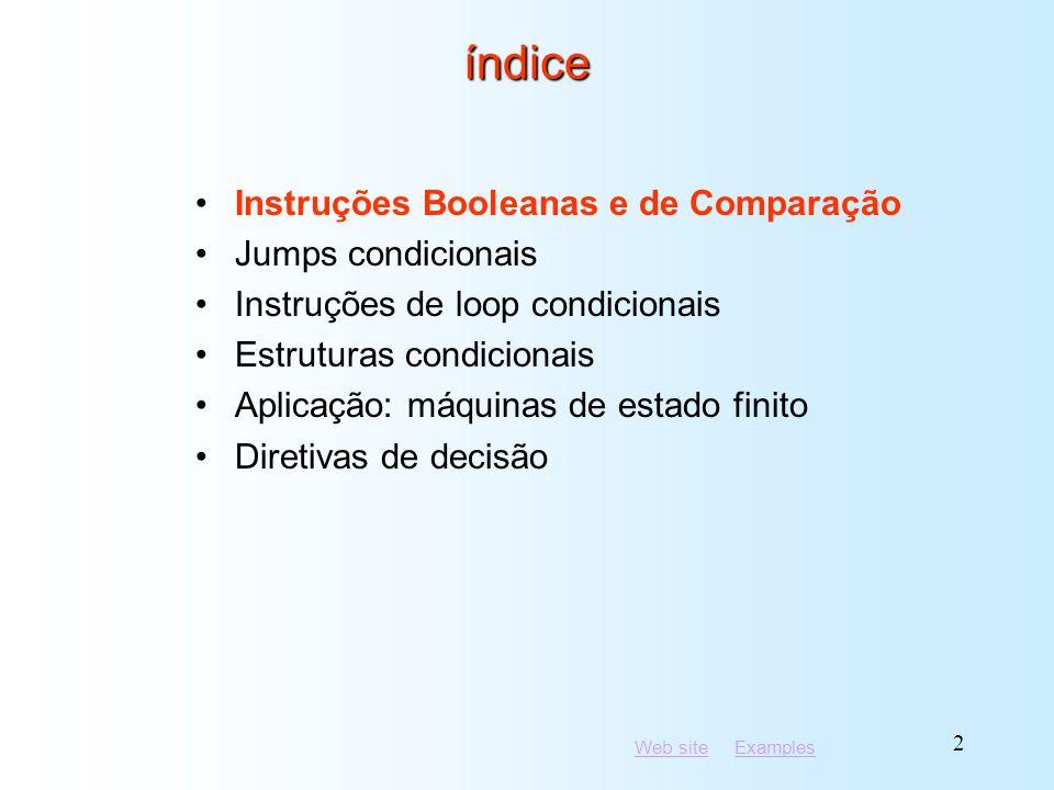 índice Instruções Booleanas e de Comparação Jumps condicionais
