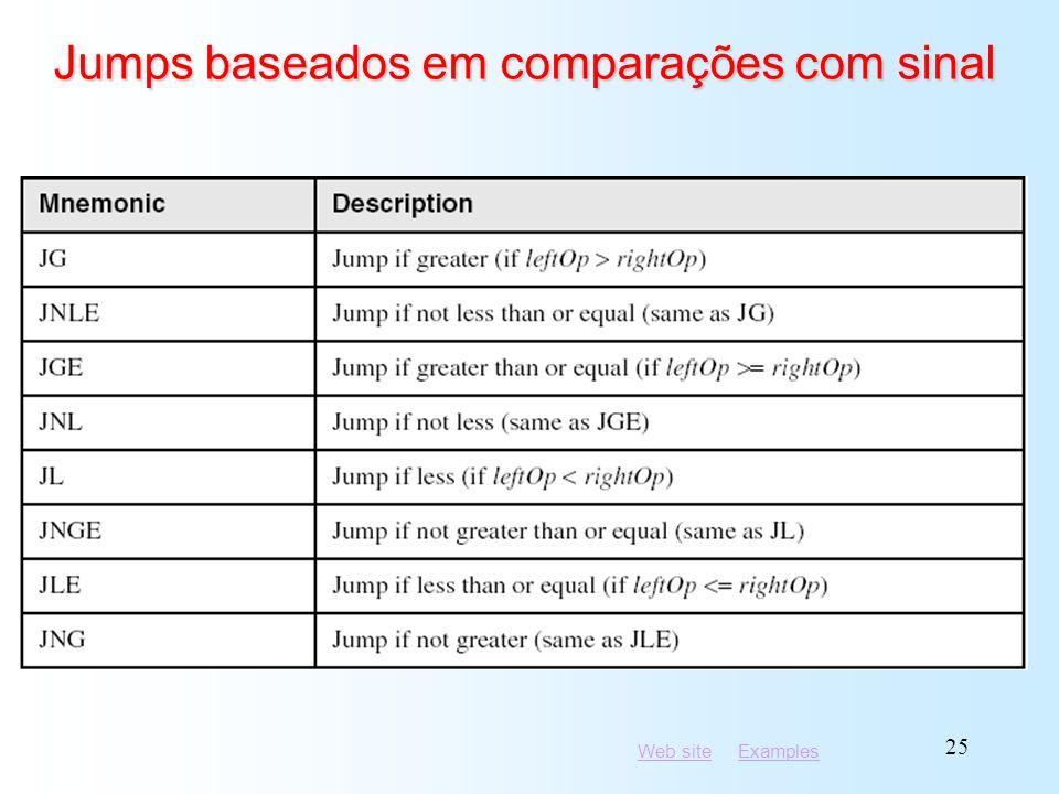 Jumps baseados em comparações com sinal