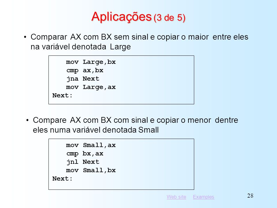 Aplicações (3 de 5) mov Large,bx. cmp ax,bx. jna Next. mov Large,ax. Next: