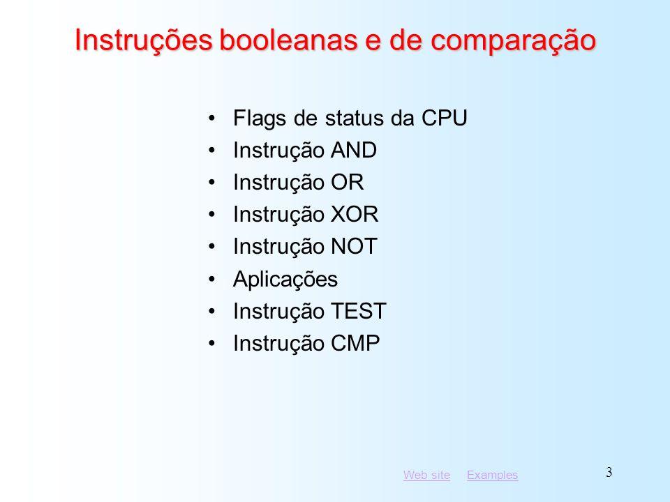 Instruções booleanas e de comparação