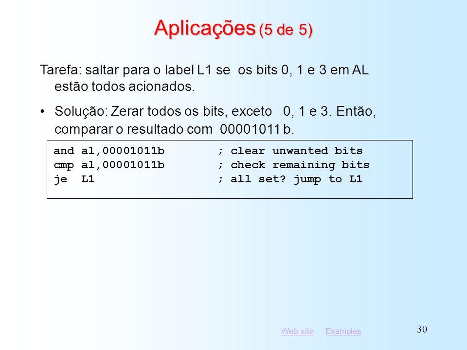 Aplicações (5 de 5) Tarefa: saltar para o label L1 se os bits 0, 1 e 3 em AL estão todos acionados.