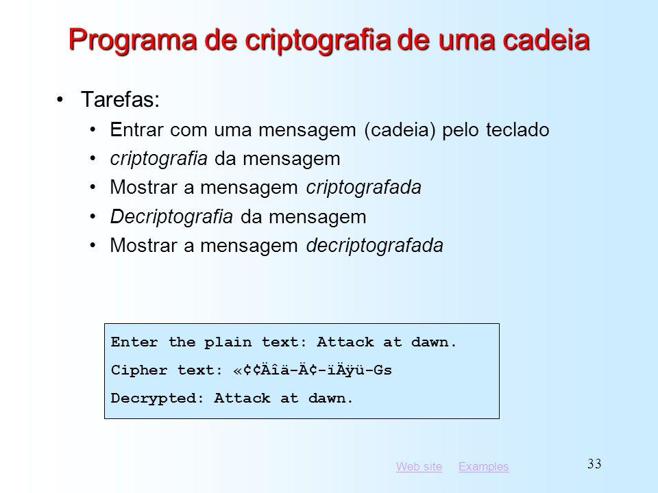 Programa de criptografia de uma cadeia