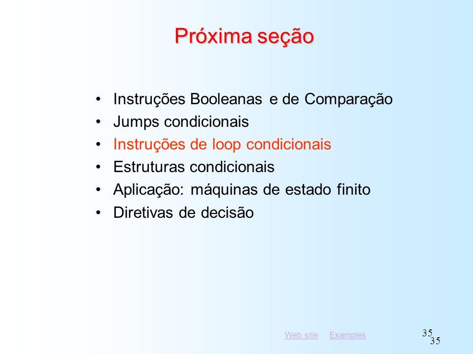 Próxima seção Instruções Booleanas e de Comparação Jumps condicionais