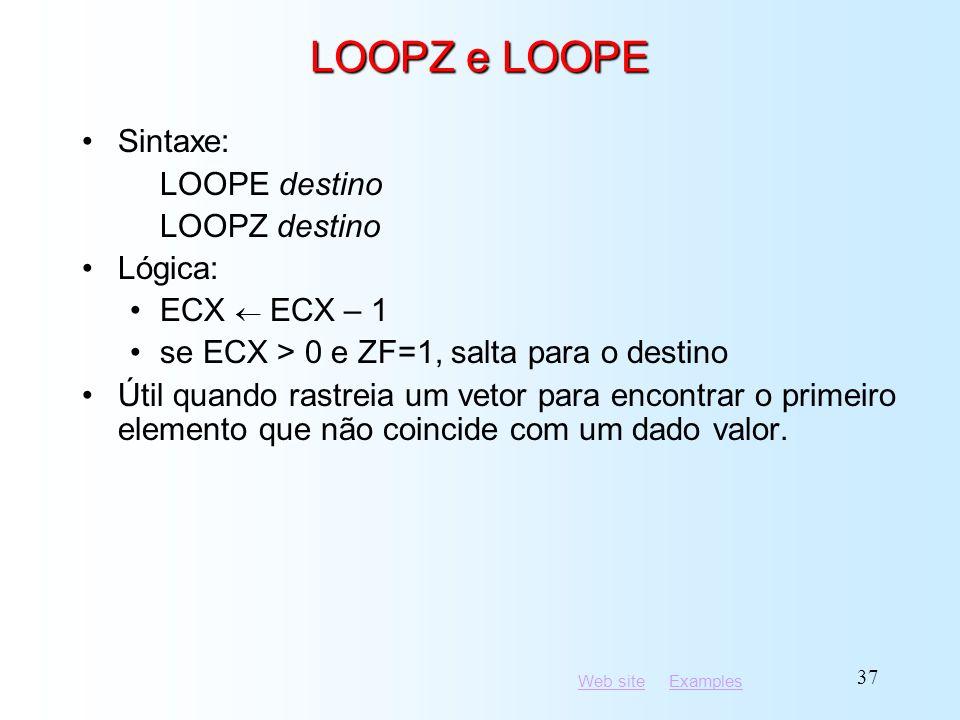 LOOPZ e LOOPE Sintaxe: LOOPE destino LOOPZ destino Lógica: