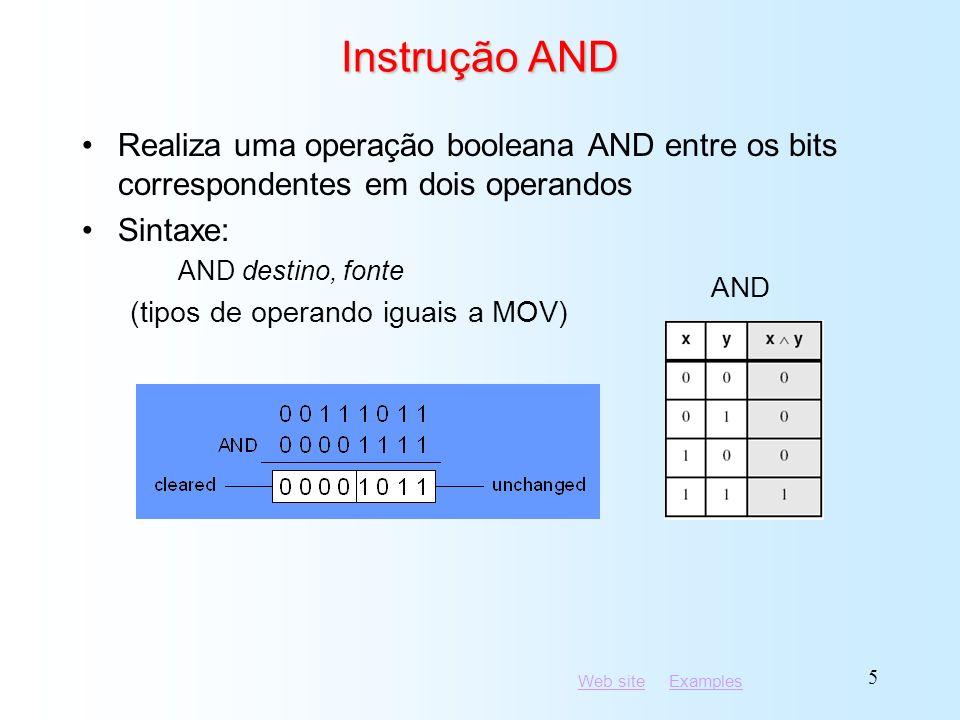 Instrução AND Realiza uma operação booleana AND entre os bits correspondentes em dois operandos. Sintaxe: