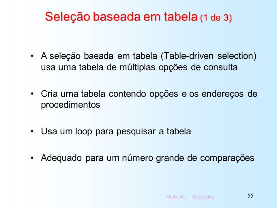 Seleção baseada em tabela (1 de 3)