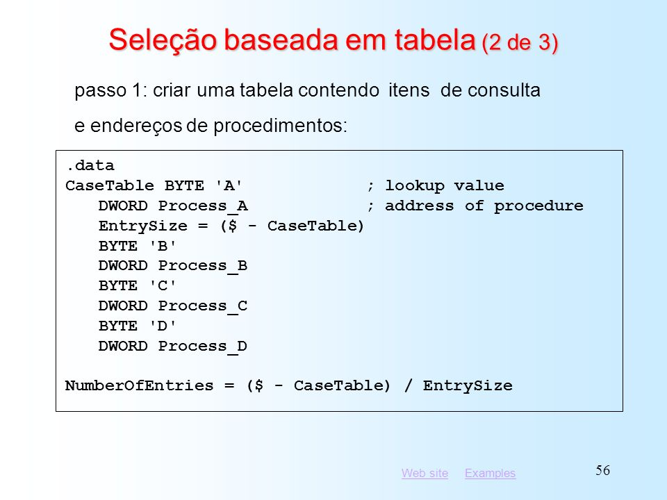 Seleção baseada em tabela (2 de 3)