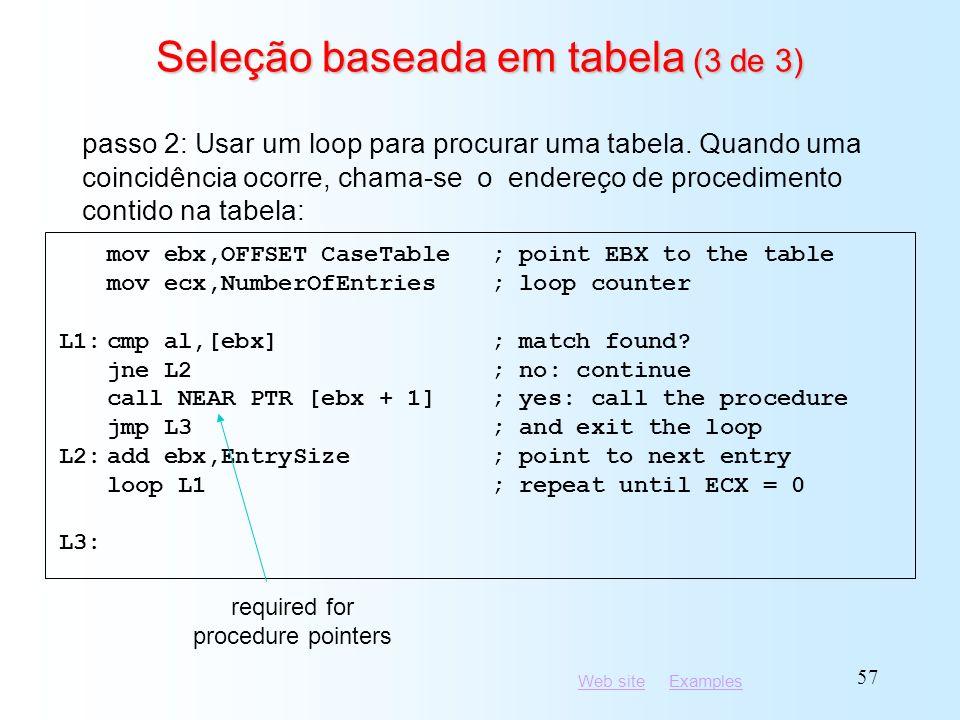 Seleção baseada em tabela (3 de 3)
