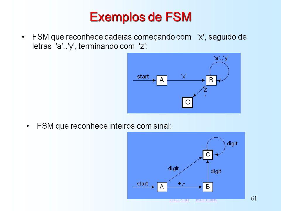 Exemplos de FSM FSM que reconhece cadeias começando com x , seguido de letras a .. y , terminando com z :