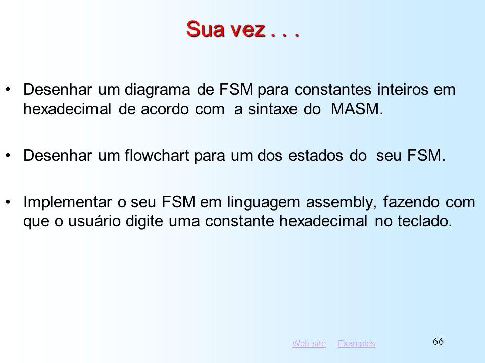 Sua vez . . . Desenhar um diagrama de FSM para constantes inteiros em hexadecimal de acordo com a sintaxe do MASM.