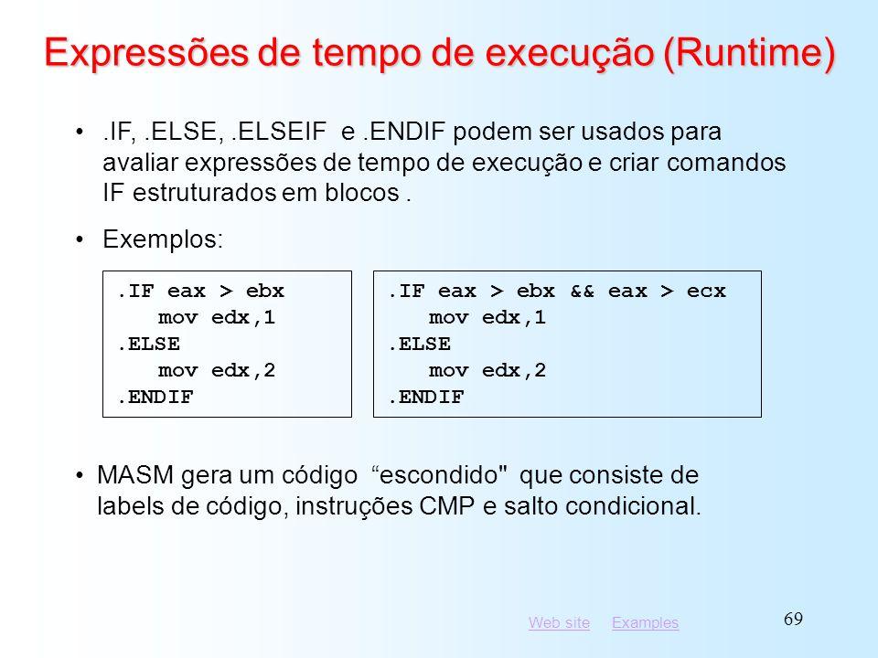 Expressões de tempo de execução (Runtime)