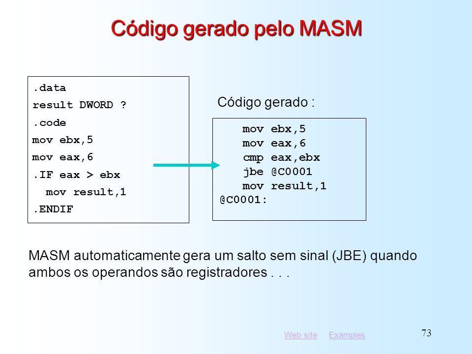 Código gerado pelo MASM