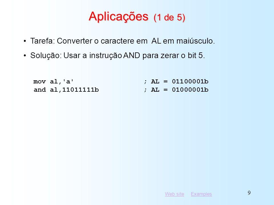 Aplicações (1 de 5) Tarefa: Converter o caractere em AL em maiúsculo.