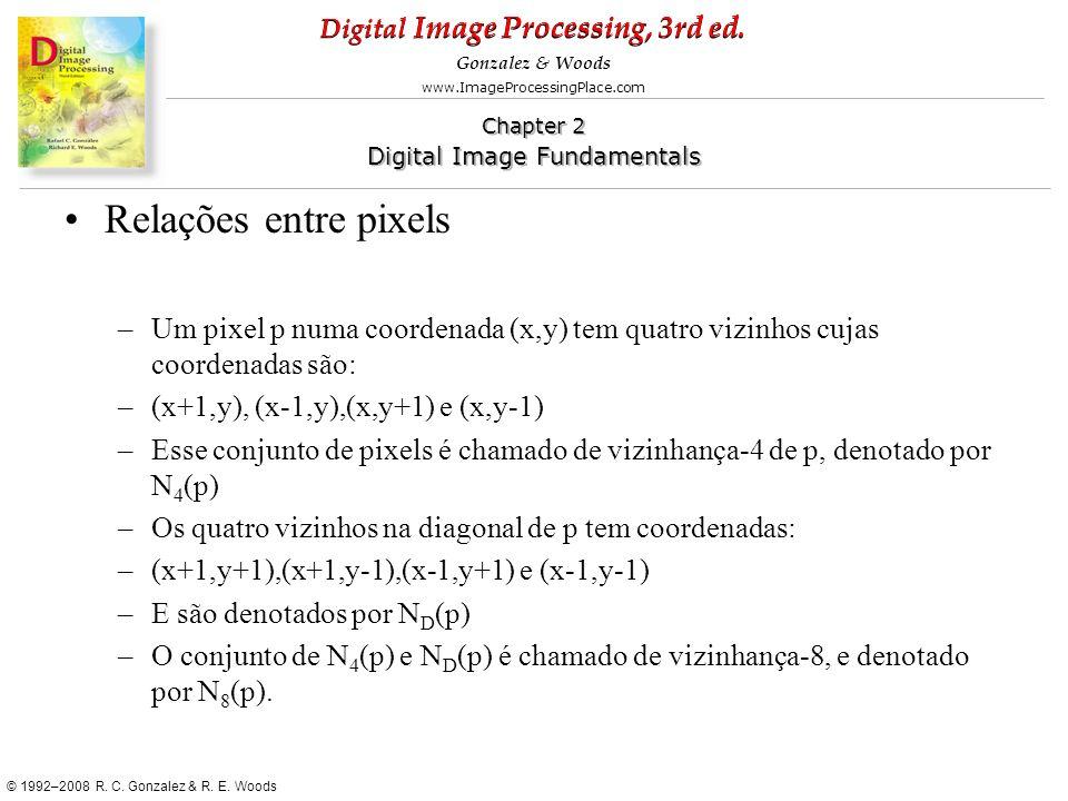 Relações entre pixels Um pixel p numa coordenada (x,y) tem quatro vizinhos cujas coordenadas são: (x+1,y), (x-1,y),(x,y+1) e (x,y-1)