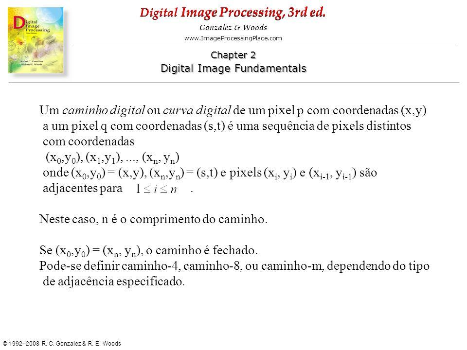 Um caminho digital ou curva digital de um pixel p com coordenadas (x,y)
