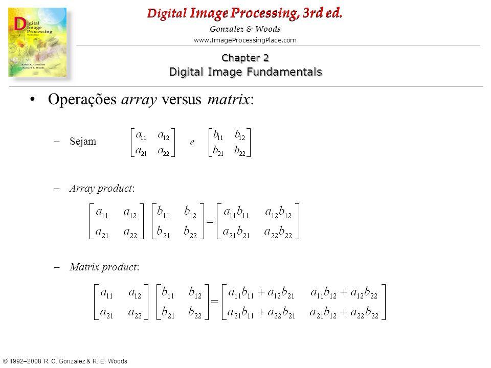 Operações array versus matrix: