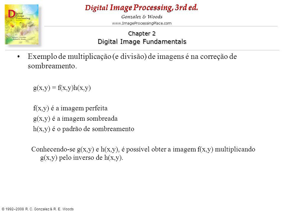 Exemplo de multiplicação (e divisão) de imagens é na correção de sombreamento.