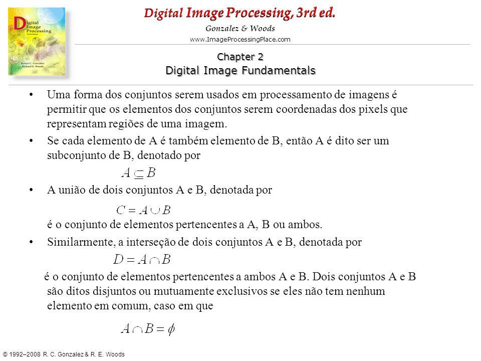 Uma forma dos conjuntos serem usados em processamento de imagens é permitir que os elementos dos conjuntos serem coordenadas dos pixels que representam regiões de uma imagem.