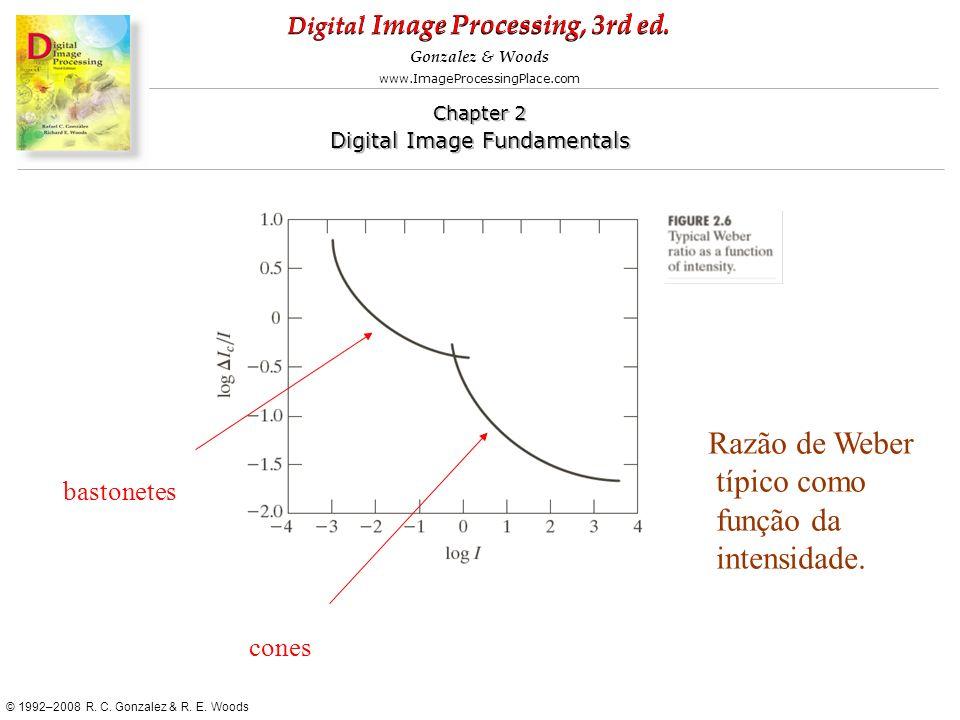 Razão de Weber típico como função da intensidade. bastonetes cones