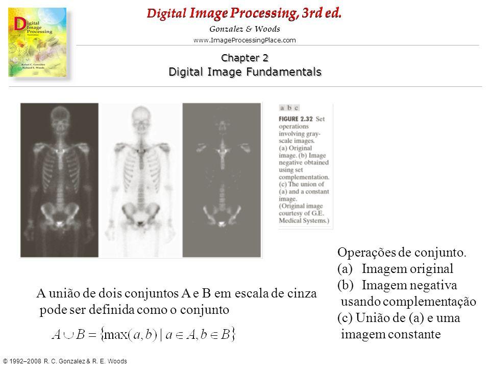 Operações de conjunto. Imagem original. Imagem negativa. usando complementação. (c) União de (a) e uma.