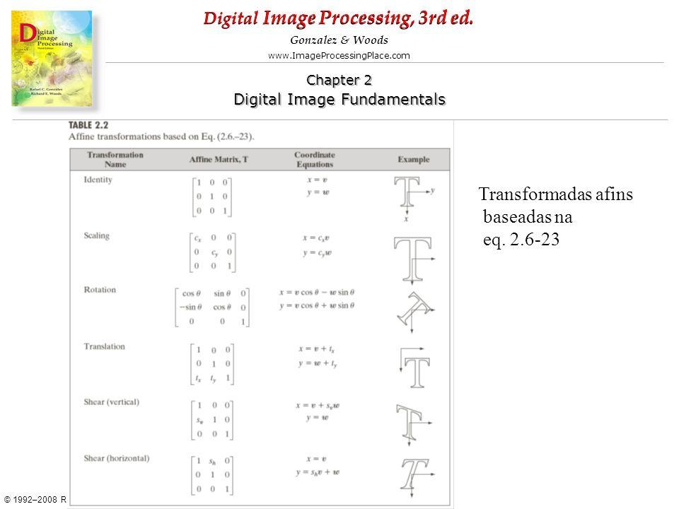 Transformadas afins baseadas na eq. 2.6-23