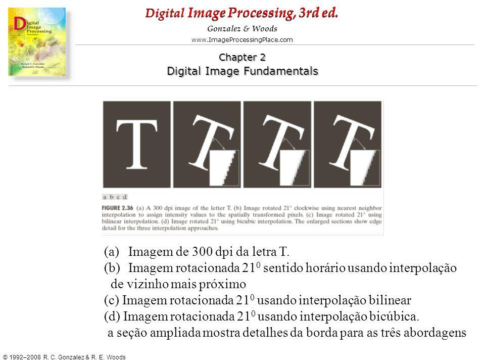 Imagem de 300 dpi da letra T. Imagem rotacionada 210 sentido horário usando interpolação. de vizinho mais próximo.