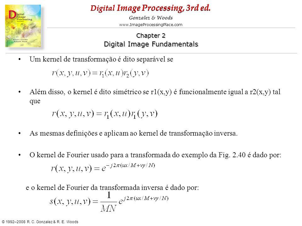Um kernel de transformação é dito separável se