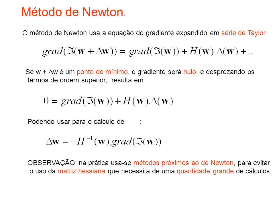 Método de Newton. O método de Newton usa a equação do gradiente expandido em série de Taylor.