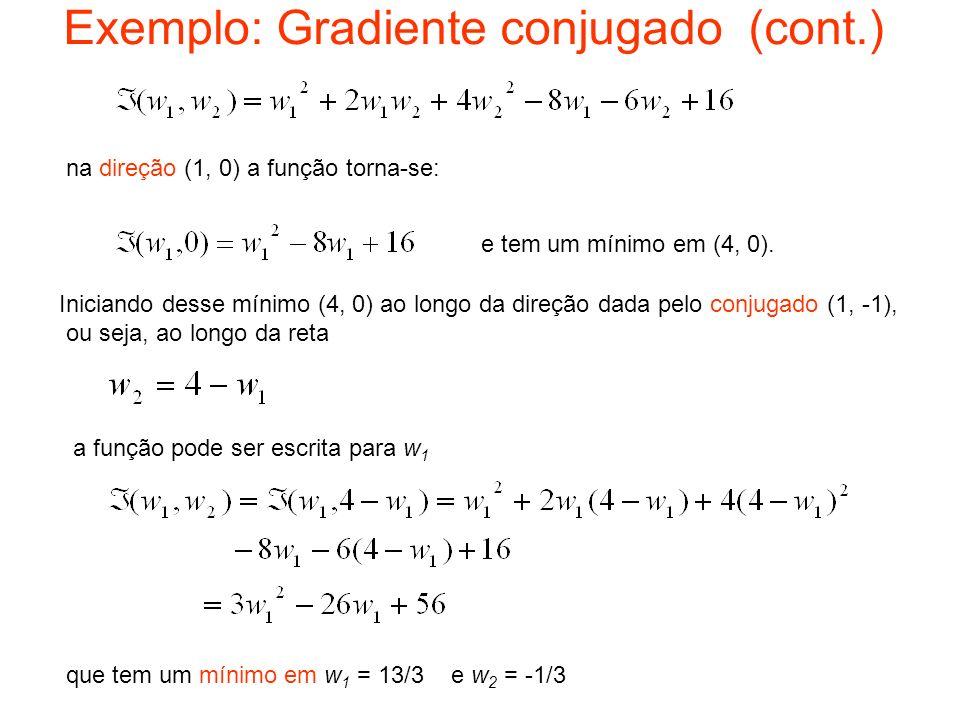 Exemplo: Gradiente conjugado (cont.)