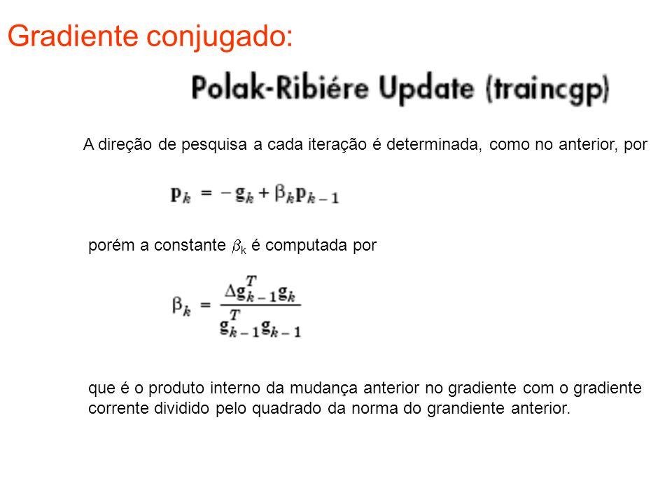 Gradiente conjugado: A direção de pesquisa a cada iteração é determinada, como no anterior, por. porém a constante bk é computada por.