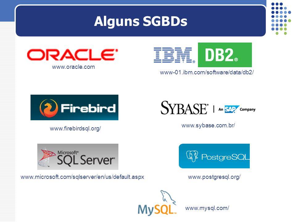 Alguns SGBDs www.oracle.com www-01.ibm.com/software/data/db2/