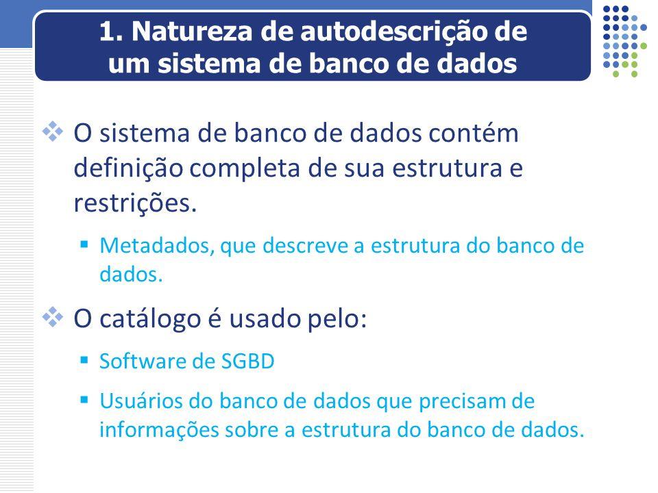 1. Natureza de autodescrição de um sistema de banco de dados