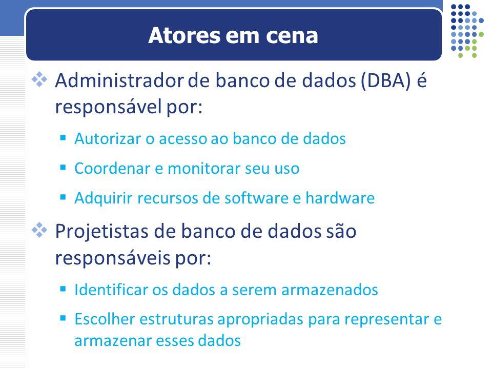 Administrador de banco de dados (DBA) é responsável por: