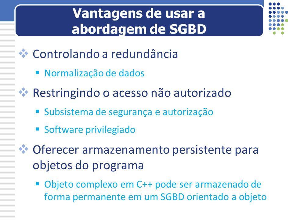 Vantagens de usar a abordagem de SGBD