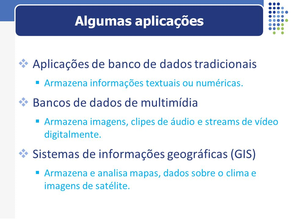 Aplicações de banco de dados tradicionais