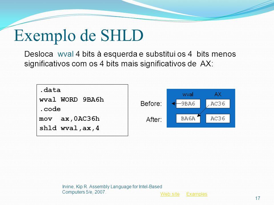 Exemplo de SHLD Desloca wval 4 bits à esquerda e substitui os 4 bits menos significativos com os 4 bits mais significativos de AX: